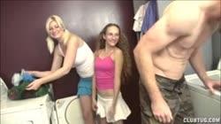 Double Handjob In The Laundry Room
