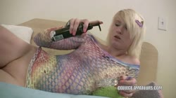 Horny coed Lila Rose fucks her pussy with a dildo