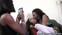 BFFs - Interracial Groupsex with three ebony teens in Vegas